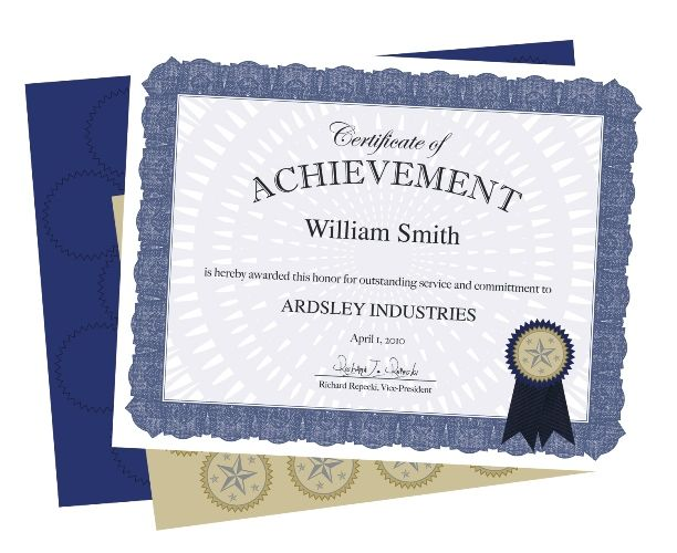 blue acclaim award certificate kit wseals 24pk