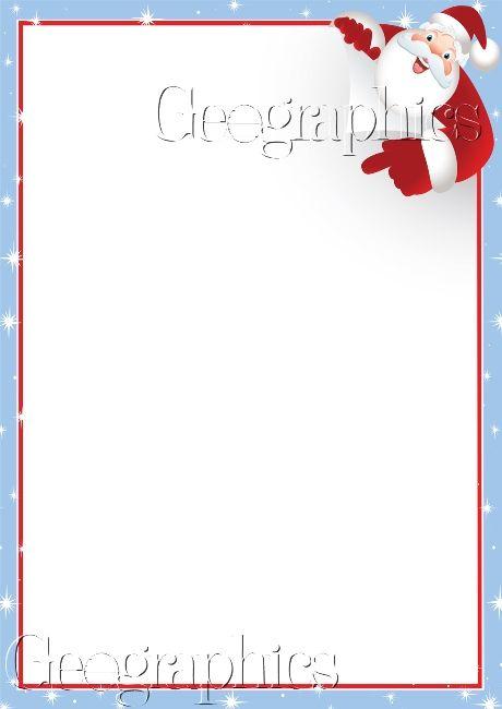 Printable Stationery Geographics : Christmas Stationery : Corner Santa ...
