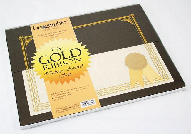 gold ribbon deluxe award certificate kit 03059 geographics australia