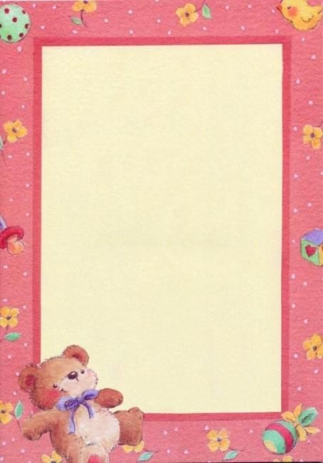 Design Paper & Envelopes : Pink Baby Border Design Paper A4, 25/PK ...